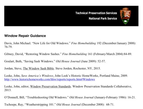 NPS Window Repair Guidance